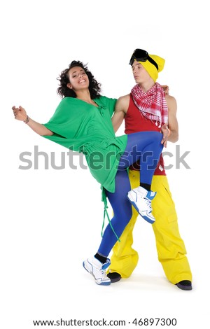 Dancing young couple, isolated on white - stock photo