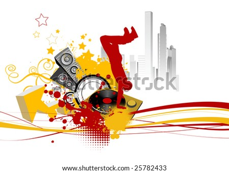 Dancing young men. Music concept. Raster version of vector illustration. - stock photo