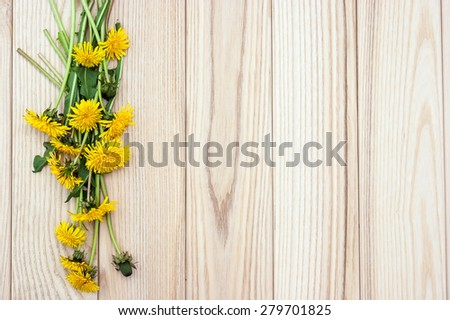 Dandelion flowers on the wooden - stock photo