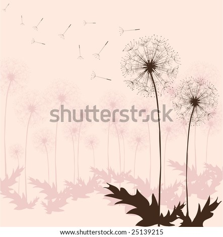 Dandelion in the Japanese style, background