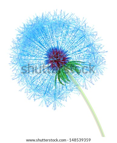 Dandelion made out of arrows pointing at internet addresses - stock photo