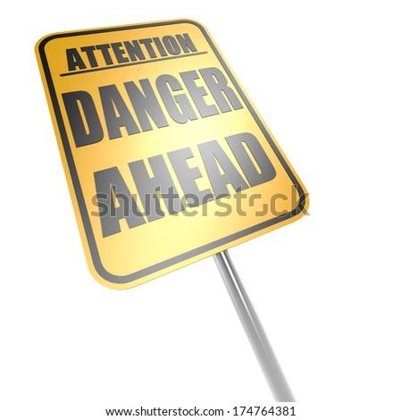 Danger ahead road sign - stock photo