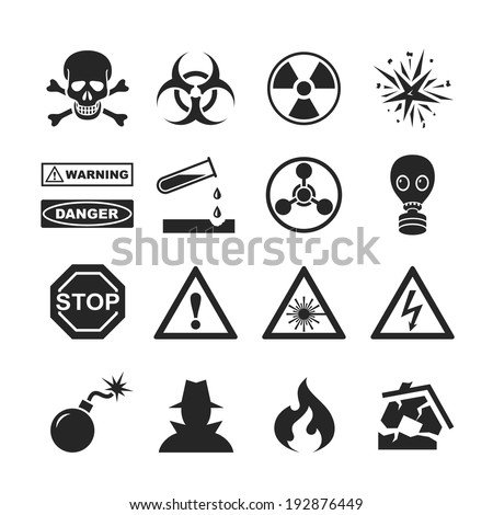 Danger and warning icons. Raster version - stock photo