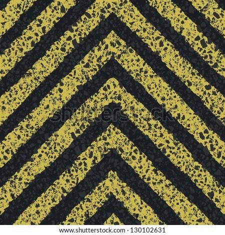 Danger arrows on asphalt texture. Raster version, vector file available in portfolio. - stock photo