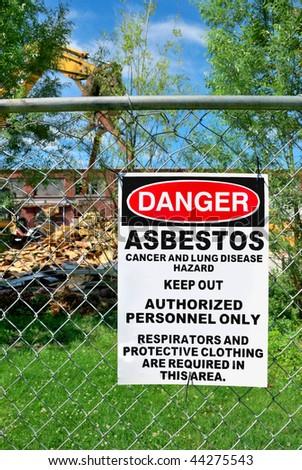 Danger Asbestos Sign - stock photo