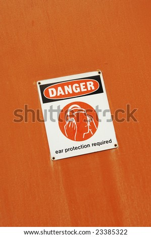 Danger - Ear Protection Required sign - stock photo