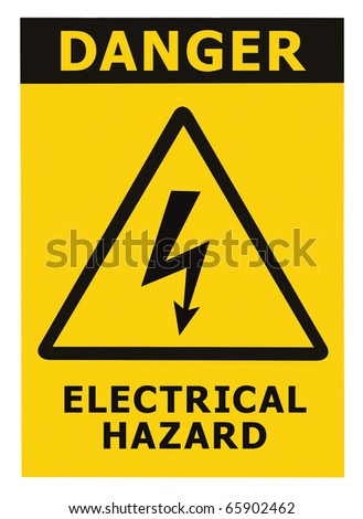 Danger Electrical Hazard Triangle Sign With Text, Isolated - stock photo