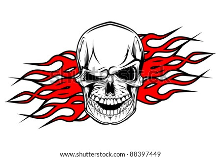 Danger evil skull as a tattoo isolated on white. Vector version also available in gallery - stock photo