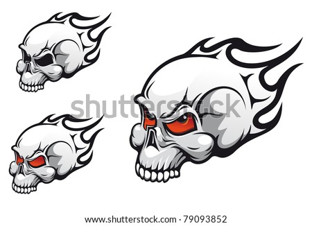 Danger evil skulls as a tattoo isolated on white, such a logo. Vector version also available in gallery - stock photo