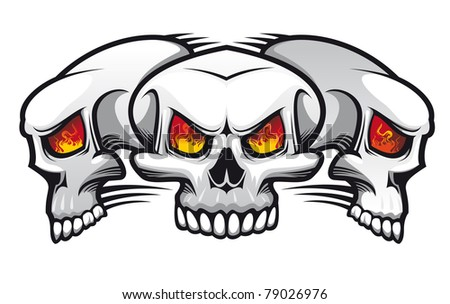 Danger evil skulls as a tattoo isolated on white. Vector version also available in gallery - stock photo