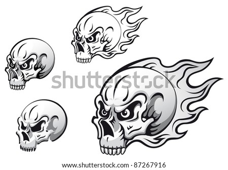 Danger evil skulls with flames as a tattoos isolated on white background. Vector version also available in gallery - stock photo