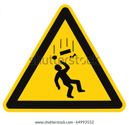 Danger Falling Objects Warning Sign Isolated, black drop triangle over yellow, isolated macro - stock photo
