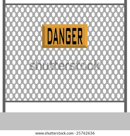 danger, fence, wire - stock photo