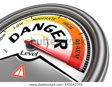 danger level conceptual meter indicate hundred per cent, isolated on white background - stock photo