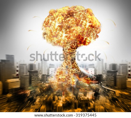 Danger of nuclear war illustration with atomic bomb over a city - stock photo