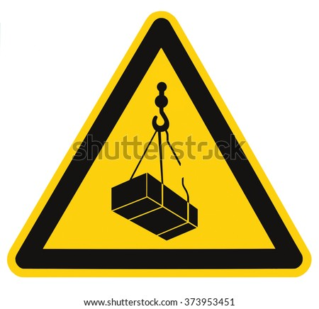 Danger overhead, crane load falling hazard risk sign, cargo icon signage, isolated black triangle over yellow, large macro closeup - stock photo