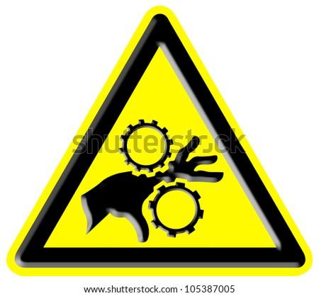 Danger rotating parts sign - stock photo