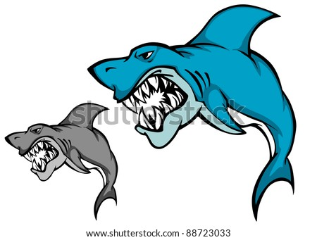 Danger shark with sharp tooth for mascot design in cartoon style, such a logo. Vector version also available in gallery - stock photo
