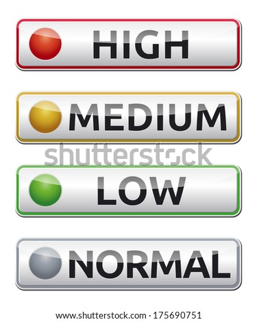 Danger sign board with high, medium, low, normal label. - stock photo