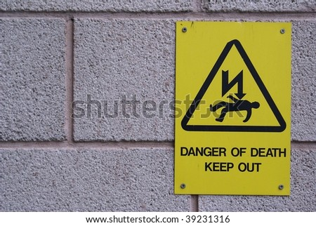 Danger sign . High voltage - stock photo