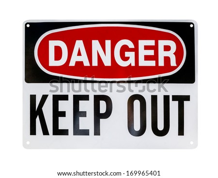 Danger sign, isolated - stock photo