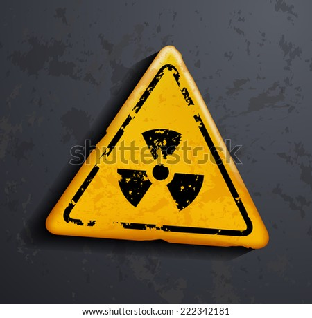 danger sign of radioactivity - stock photo