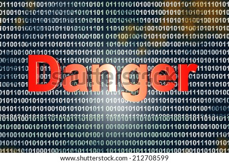 Danger sign over digital, binary code. 3D Illustration.