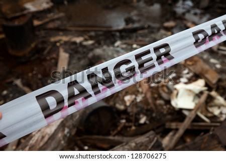 Danger Sign Tapel close up - stock photo