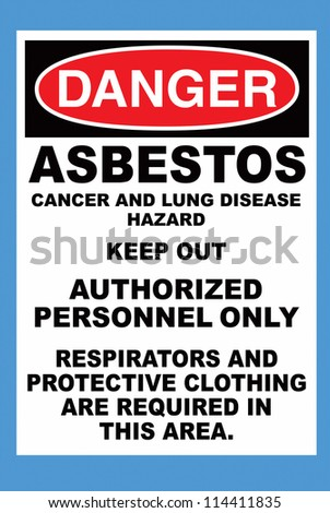 Danger Sign with Asbestos Warning, clipping path - stock photo