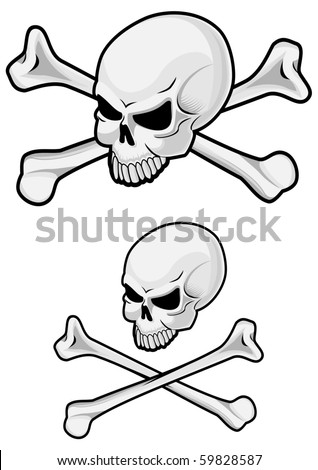 Danger skull with crossbones for evil concept. Vector version also available in gallery - stock photo