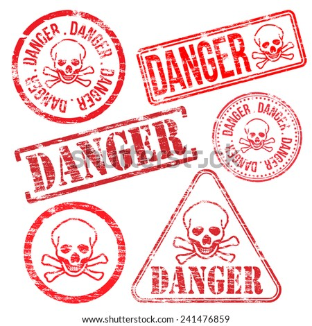 Danger stamps. Different shape rubber stamp illustrations  - stock photo