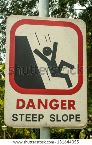 Image result for caricature of a man going down a steep slope