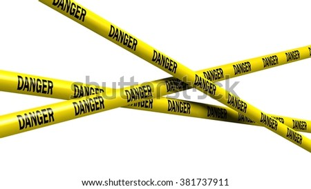 danger tape - isolated - stock photo