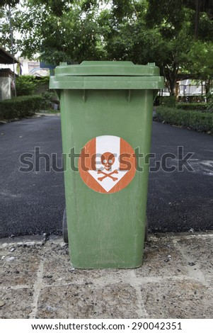 Danger trash at side Street in the alley - stock photo
