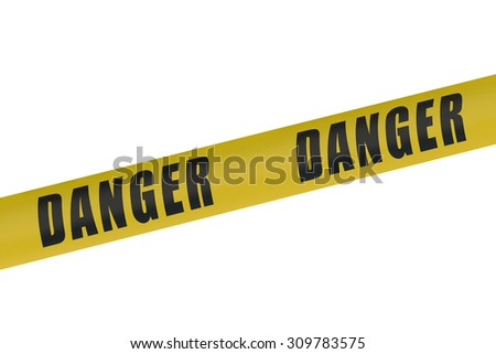 Danger Yellow Tape isolated on white background