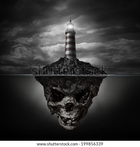 Dangerous advice and bad direction concept as a glowing lighthouse beacon on a rock island shaped as an underwater human skull on a dark background as a metaphor for dishonesty and deception. - stock photo