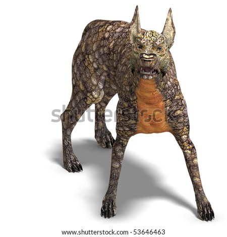 dangerous alien dog with lizard skin. 3D rendering with clipping path and shadow over white - stock photo