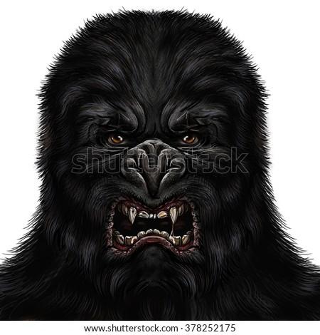 Dangerous angry gorilla. - stock photo