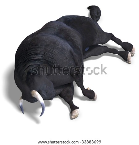 dangerous bull with beaked horns. 3D render with clipping path and shadow over white - stock photo