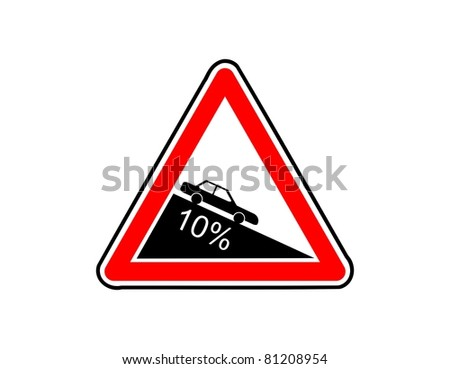 Dangerous descent road sign illustration