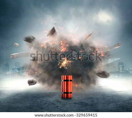 Dangerous dynamite exploding in the urban area - stock photo