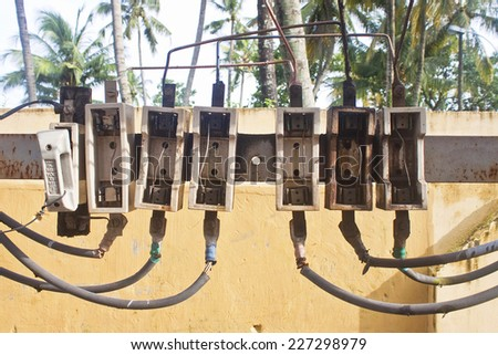 Dangerous electric fuse installation in India - stock photo