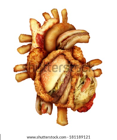 Dangerous heart diet and unhealthy food concept with human cardiovascular anatomy organ made from unhealthy and fried fast food as fries and burgers as a metaphor for dieting and nutrition problems. - stock photo