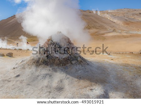 Dangerous hot steaming vents  at Hverir, Iceland, where the Earth's crust is very thin and the air is filled with sulphurous fumes.