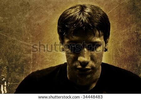 Dangerous man portrait - stock photo