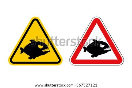 Dangerous Marine Predator Attention Piranha Hazard Stock