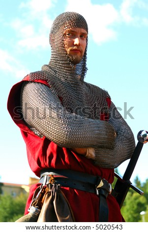 Dangerous medieval warrior - stock photo