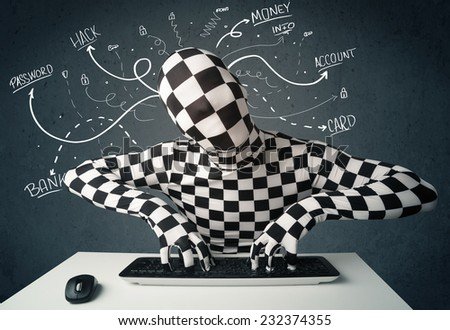 Dangerous morphsuit hacker with white drawn line thoughts - stock photo