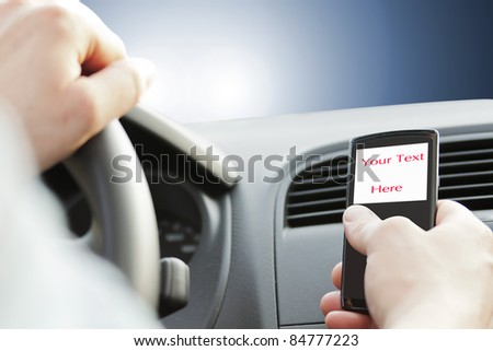 dangerous of texting while driving See my portfolio for more - stock photo