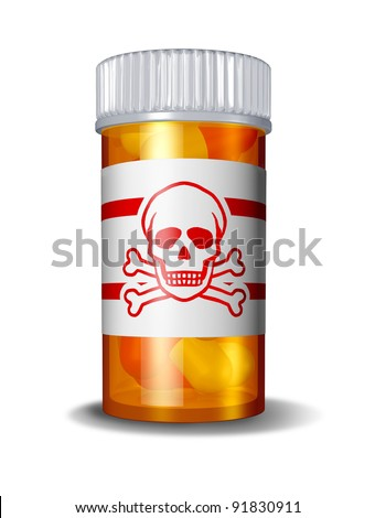Dangerous prescription drugs due to hazardous overdose of pharmaceuticals as poisoning deaths from overdoses of medications with painkillers anti-anxiety drugs and sleeping pills with a danger sign. - stock photo